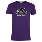 Ladies Purple T Shirt-Basketball