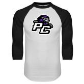 White/Black Raglan Baseball T Shirt-Lion PC