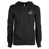 ENZA Ladies Black Fleece Full Zip Hoodie-Lion PC