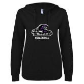 ENZA Ladies Black V Notch Raw Edge Fleece Hoodie-Volleyball