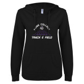 ENZA Ladies Black V Notch Raw Edge Fleece Hoodie-Track & Field