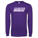 Purple Long Sleeve T Shirt-Paine College Lions