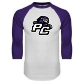 White/Purple Raglan Baseball T Shirt-Lion PC