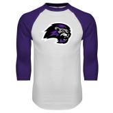 White/Purple Raglan Baseball T Shirt-Lion Head