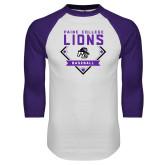 White/Purple Raglan Baseball T Shirt-Baseball