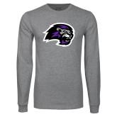 Grey Long Sleeve T Shirt-Lion Head