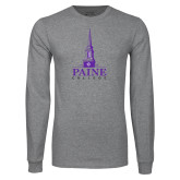 Grey Long Sleeve T Shirt-Paine College Mark