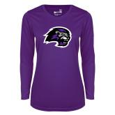 Ladies Syntrel Performance Purple Longsleeve Shirt-Lion Head