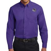 Purple Twill Button Down Long Sleeve-Lion PC