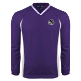 Colorblock V Neck Purple/White Raglan Windshirt-Lion PC
