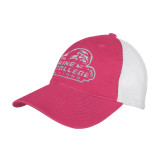 Fuchsia/White Mesh Back Unstructured Low Profile Hat-Primary Mark