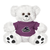 Plush Big Paw 8 1/2 inch White Bear w/Purple Shirt-Primary Mark