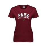 Ladies Maroon T Shirt-Park University Arched