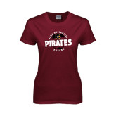 Ladies Maroon T Shirt-Soccer Circle