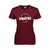 Ladies Maroon T Shirt-Soccer Circle