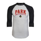White/Black Raglan Baseball T-Shirt-Park University Arched
