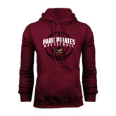 Maroon Fleece Hood-Basketball Arched In Ball