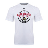 Under Armour White Tech Tee-Basketball Arched In Ball