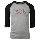 Grey/Black Tri Blend Baseball Raglan-University Mark