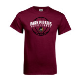 Maroon T Shirt-Basketball Arched In Ball