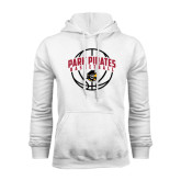 White Fleece Hoodie-Basketball Arched In Ball