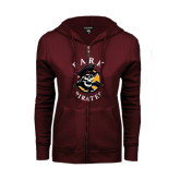 ENZA Ladies Maroon Fleece Full Zip Hoodie-Official Logo