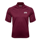 Maroon Textured Saddle Shoulder Polo-Park University Arched Collegiate