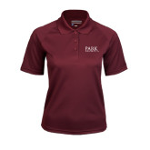 Ladies Maroon Textured Saddle Shoulder Polo-University Mark