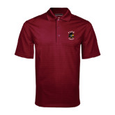 Maroon Mini Stripe Polo-Official Logo