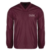 V Neck Maroon Raglan Windshirt-University Mark