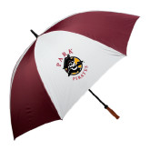 62 Inch Maroon/White Umbrella-Official Logo