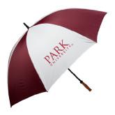 62 Inch Maroon/White Umbrella-University Mark