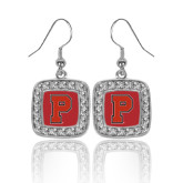 Crystal Studded Square Pendant Silver Dangle Earrings-P