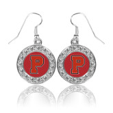 Crystal Studded Round Pendant Silver Dangle Earrings-P