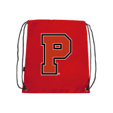 Nylon Red Drawstring Backpack-P