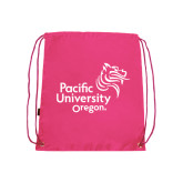 Nylon Pink Drawstring Backpack-Pacific University Oregon w/Boxer