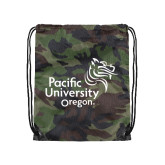 Nylon Camo Drawstring Backpack-Pacific University Oregon w/Boxer