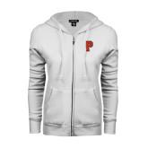 ENZA Ladies White Fleece Full Zip Hoodie-P