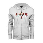 ENZA Ladies White Fleece Full Zip Hoodie-Arched Pacific Boxers w/P