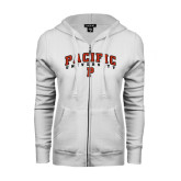 ENZA Ladies White Fleece Full Zip Hoodie-Arched Pacific University w/P