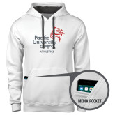 Contemporary Sofspun White Hoodie-Pacific University Oregon w/Boxer
