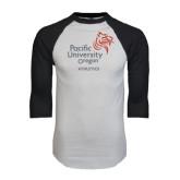 White/Black Raglan Baseball T-Shirt-Pacific University Oregon w/Boxer