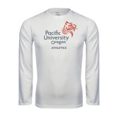 Performance White Longsleeve Shirt-Pacific University Oregon w/Boxer