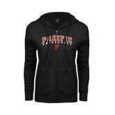 ENZA Ladies Black Fleece Full Zip Hoodie-Arched Pacific University w/P