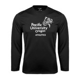 Performance Black Longsleeve Shirt-Pacific University Oregon w/Boxer