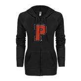 ENZA Ladies Black Light Weight Fleece Full Zip Hoodie-P