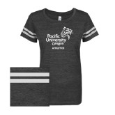 ENZA Ladies Black/White Vintage Triblend Football Tee-Pacific University Oregon w/Boxer