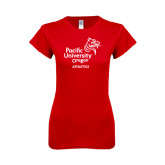 Next Level Ladies SoftStyle Junior Fitted Red Tee-Pacific University Oregon w/Boxer