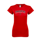 Next Level Ladies SoftStyle Junior Fitted Red Tee-Arched Pacific University w/P