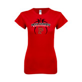 Next Level Ladies SoftStyle Junior Fitted Red Tee-Graphics in Ball